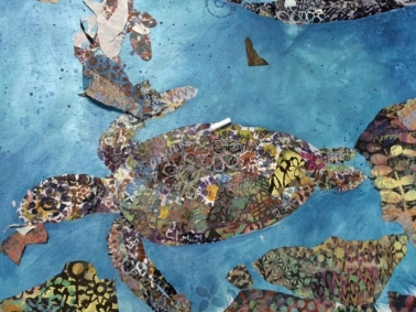 a collaged turtle that is swimming the reef